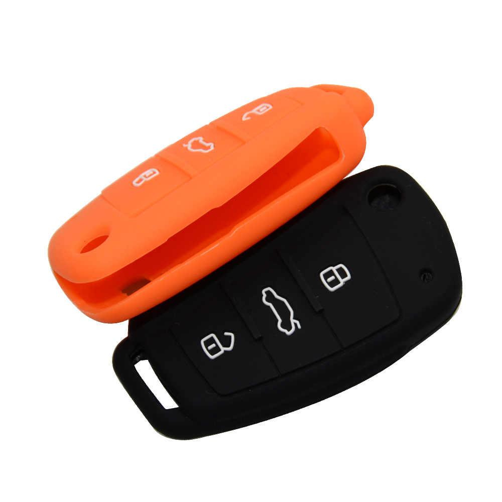 OkeyTech سيليكون سيارة مفتاح القضية غطاء مرآة مصمم للسيارة أودي A4 B6 A3 A6 C5 C6 B8 B7 Q5 B5 Q7 3 زر عن بعد السيارات فليب مفتاح حامل مجانا Shippin