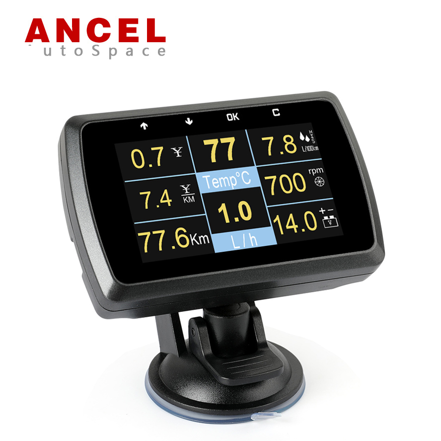 Цена за Ансель A501 автомобиля Датчик OBD HUD цифровой Дисплей вождения компьютер Скорость метр топлива воды Хладагент сигналами тревоги сканирования сканер