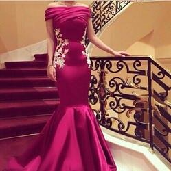Высокое качество русалка пром платья аппликации дубай арабский вечерние платья с плеча ну вечеринку платье свадебные платья феста