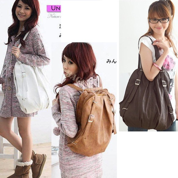 2016 Korean Style Fashion Lady 2 Ways Pu Leather School Bag Women Handbag Girls Shoulders Bag In