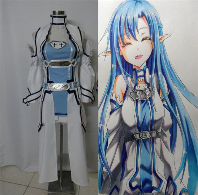 ALO COS Yuuki Asuna Anime Sword Art Online Asuna Cosplay Costume Outfits  (trench+underwear