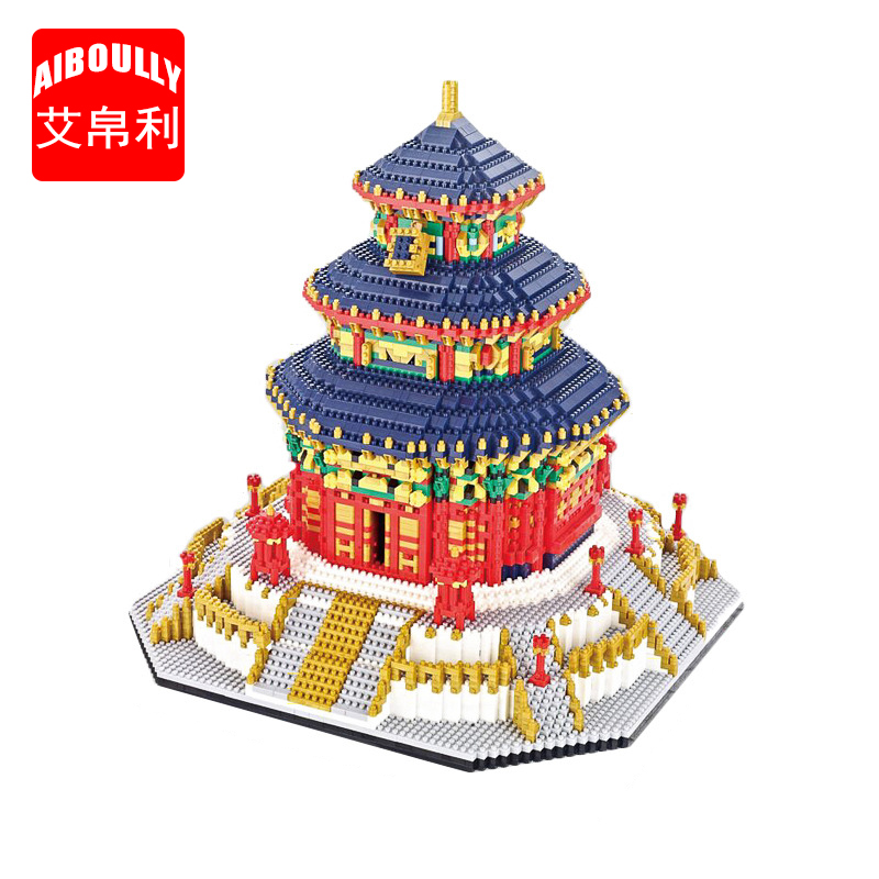AIBOULLY 66525 World Famous Architecture China The Temple of Heaven 3D Mini DIY Diamond Building Nano Blocks Bricks Toy Children