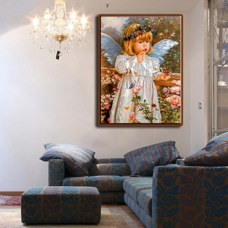 Living Room Digital Art: Angel Girl Portrait Hand Painted Painting By Numbers