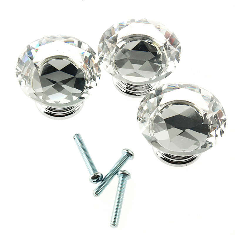 Luxury Furniture Handles 16Pcs 40mm Crystal Glass Rhinestone Shape Cabinet Knob Drawer Pull Handle Kitchen Accessories AA 40mm diamond shape crystal glass door handle knob with screws for furniture drawer cabinet kitchen pull handle wardrobe