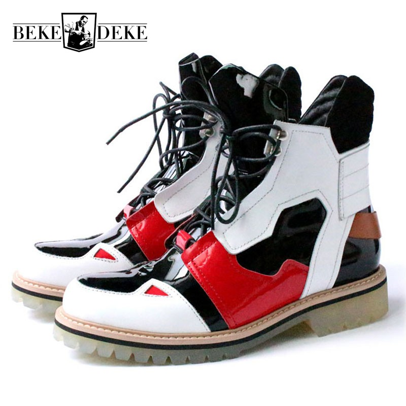 New Designer High Top Mens Casual High Street Fashion Ankle Boots Runway Genuine Leather Med Heels Punk Mixed Color  ShoesNew Designer High Top Mens Casual High Street Fashion Ankle Boots Runway Genuine Leather Med Heels Punk Mixed Color  Shoes