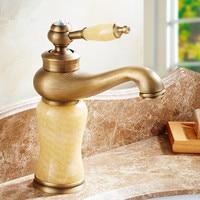 Bathroom faucet European antique faucet Hot and cold water Pure copper Jade Washbasin mixer