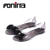Summer 2016 Fashion Leisure Women Sandals Big Bowtie Peep Toe Soft Women Casual Sandals Clear Crystal