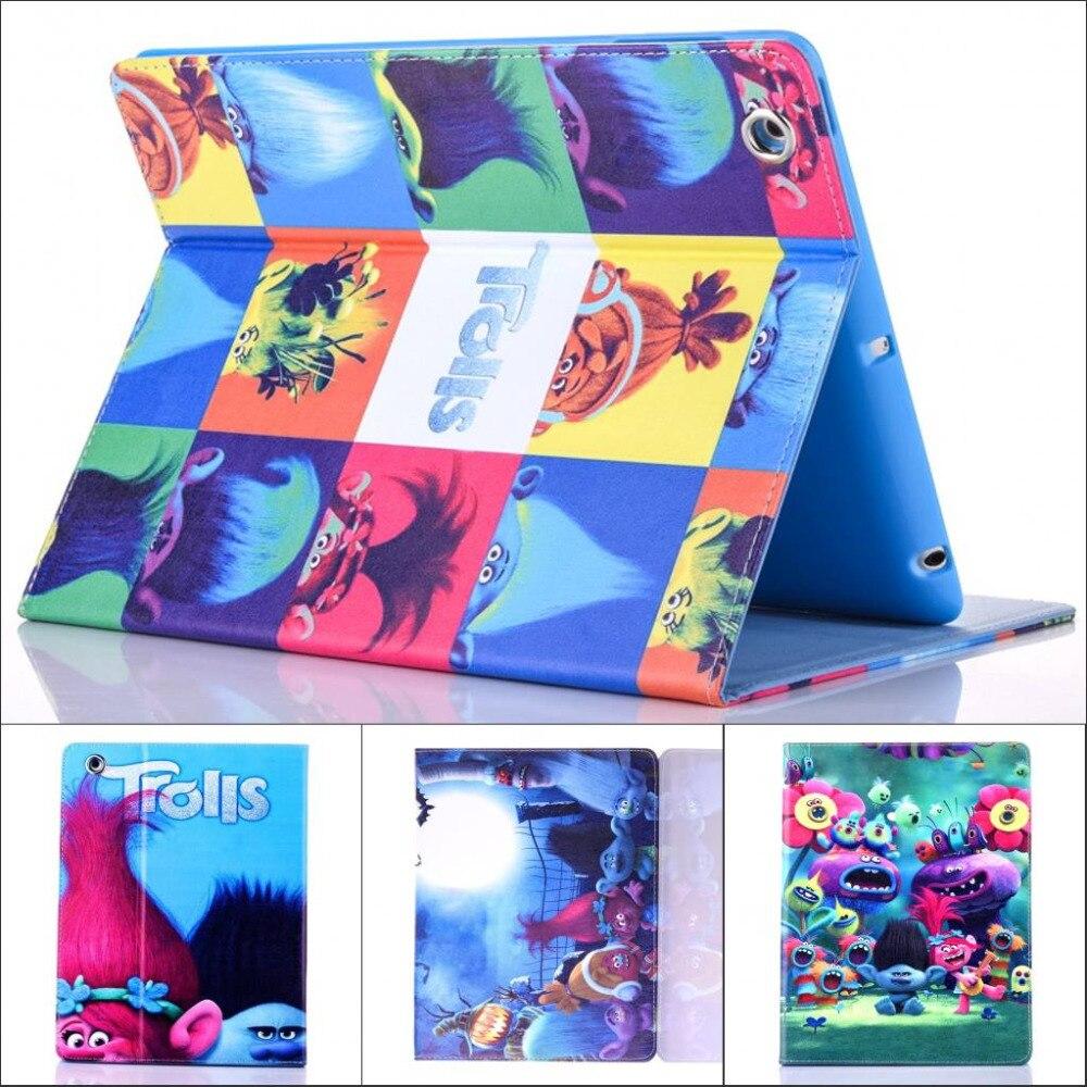 Fashion Movie Cute cartoon Trolls Poppy pu leather Stand holder case cover for ipad air 2 ipad air2 fundas with screen film