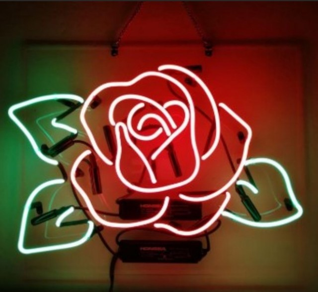 Custom Red Rose Glass Neon Light Sign Beer Bar