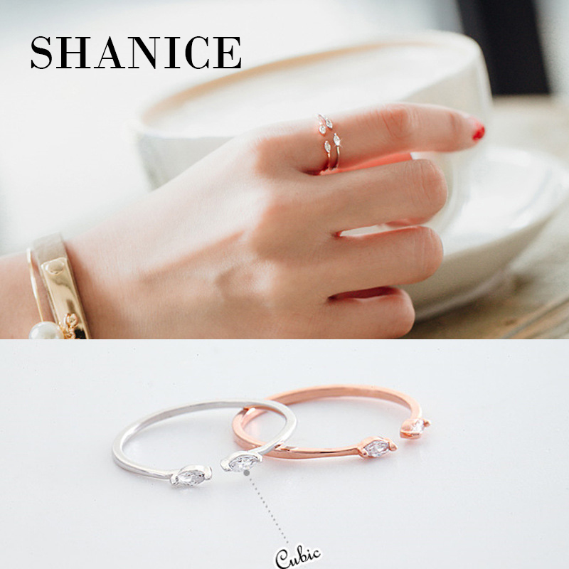SHANICE VAuthentic 100% 925 Sterling Silver Cute CZ Crystal Horse Eye Sharp Stone Thin Line Lady Open Ring Fashion Jewelry