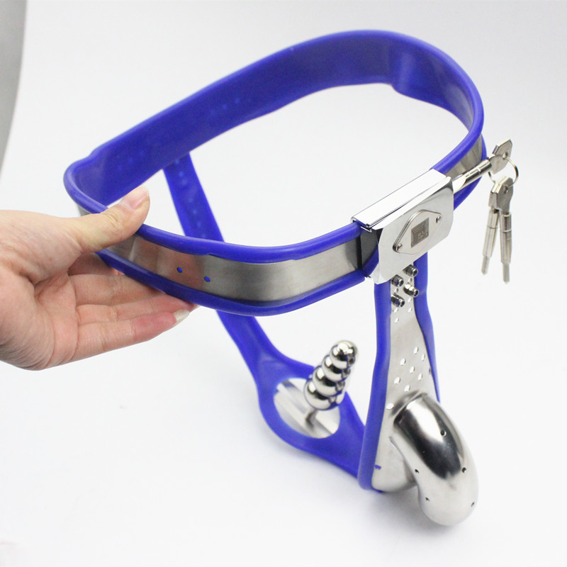 Male Chastity Belt Curve Waist Fully Adjustable Stainless Steel Chastity Belt with Penis Cage Anal Plug Sex Toy for Men G13Male Chastity Belt Curve Waist Fully Adjustable Stainless Steel Chastity Belt with Penis Cage Anal Plug Sex Toy for Men G13