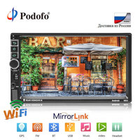 Podofo Car Radio Multimedia Player Android Universal 7 2DIN Touch Screen MP5 Stereo Autoradio Support BT/GPS/USB/FM/Mirrorlink