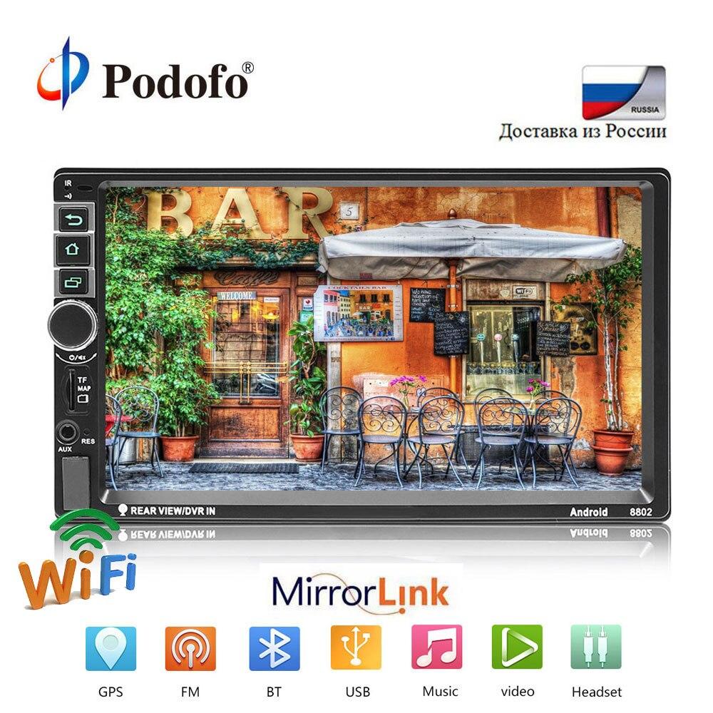 Podofo Voiture Radio Lecteur Multimédia Android Universel 7 2DIN Écran Tactile MP5 Stéréo Autoradio Soutien BT/GPS/ USB/FM/Mirrorlink