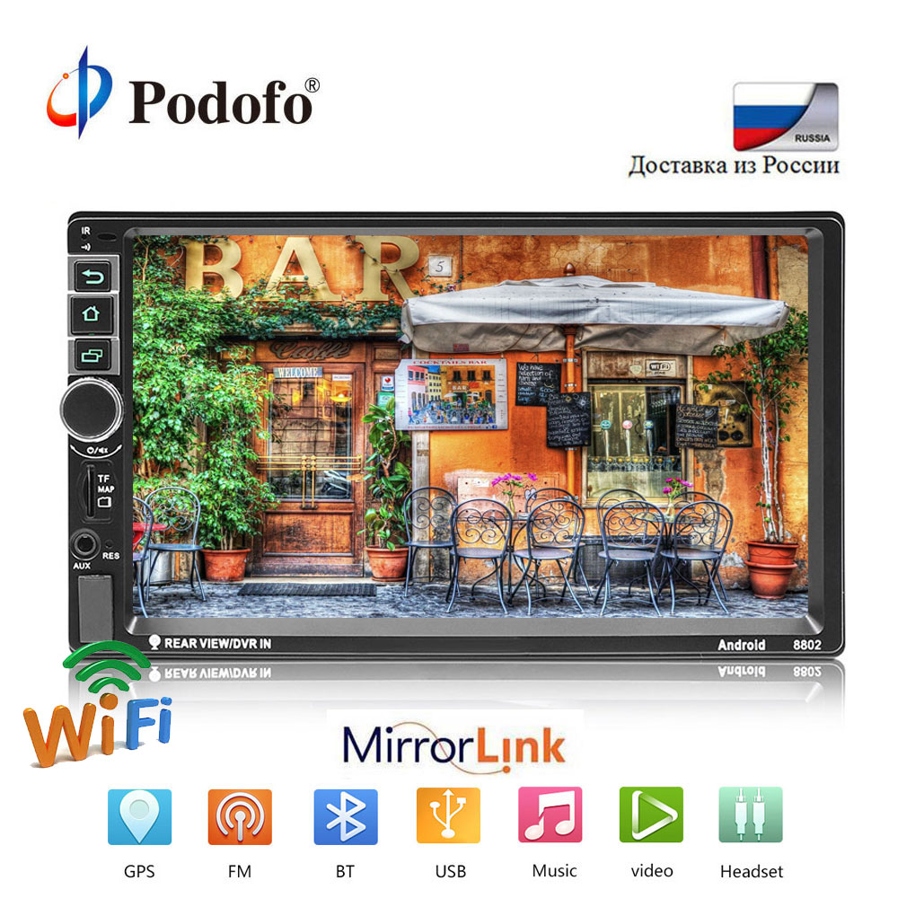 Podofo Car Radio Multimedia Player Android Universal 7 2DIN Touch Screen MP5 Stereo Autoradio Support BT/GPS/USB/FM/Mirrorlink 7 touch screen mirrorlink bluetooth android car stereo mp5 player gps navigator auto 2 din fm radio autoradio support dvr
