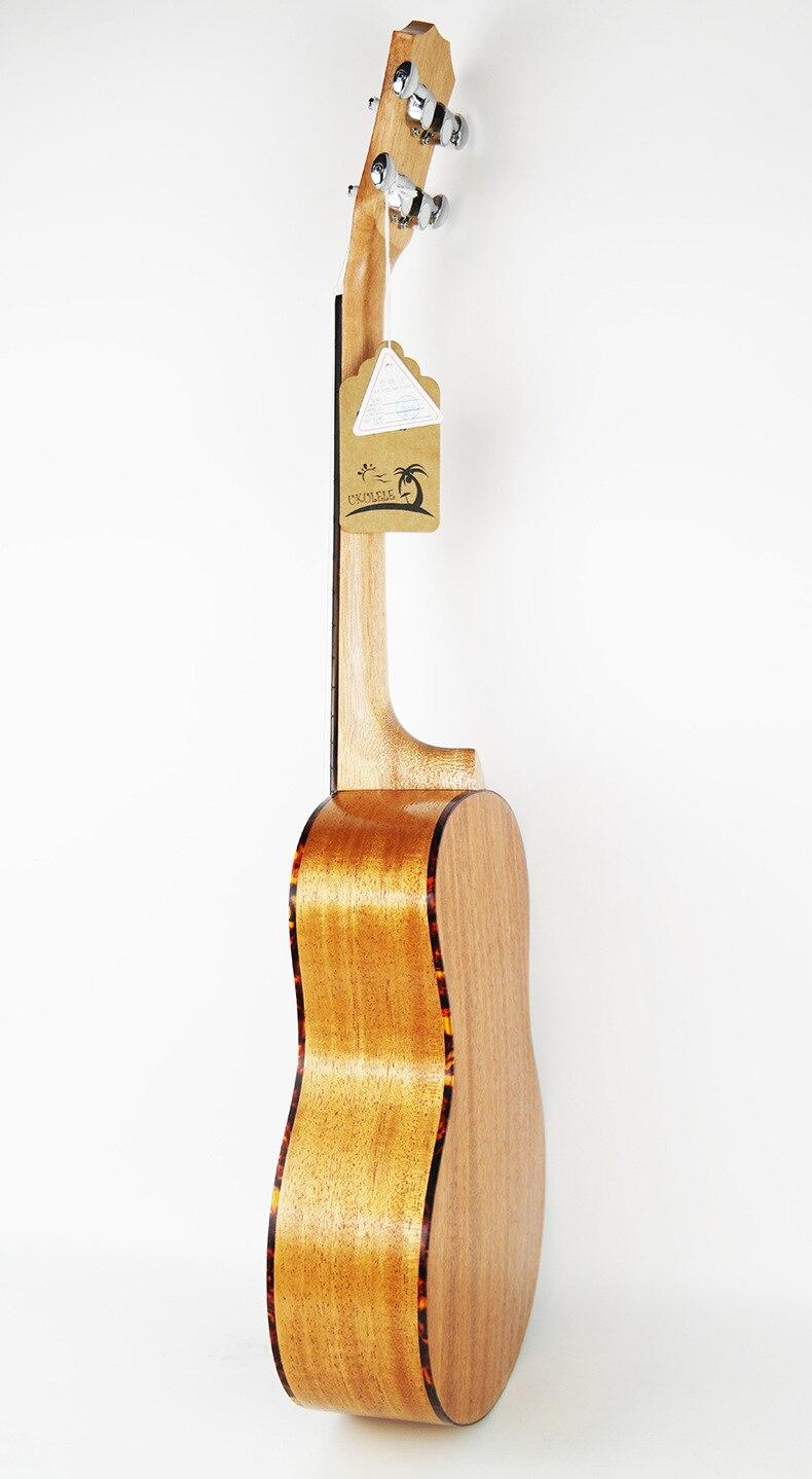 Guitare acoustique SevenAngel 23 pouces ukulélé épicéa acajou 4 cordes ukelele électrique avec micro EQ reliure celluloïd rouge - 4