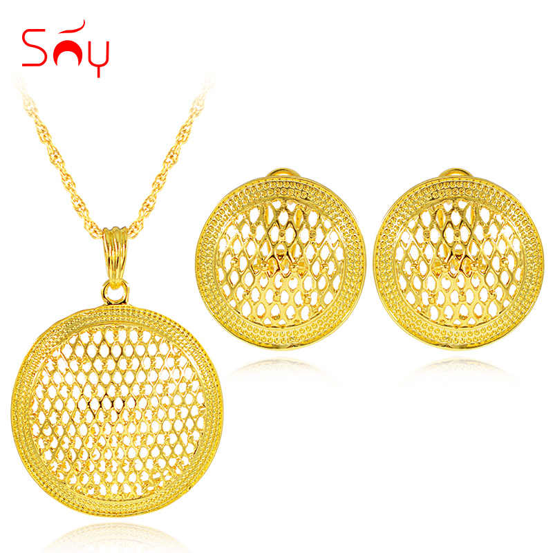 Sunny Jewelry Classic Jewelry Big Round Jewelry Sets For Women Necklace Earrings Pendant Dubai Jewelry Sets For Party Engagement