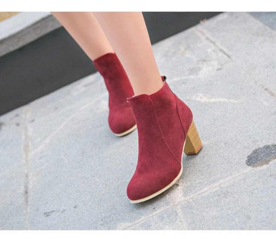2019 New Women Spring Autumn Ankle Boots Comfort Low Heels Shoes Woman Short Riding Booties Sexy High Heels Plus Size 35-41