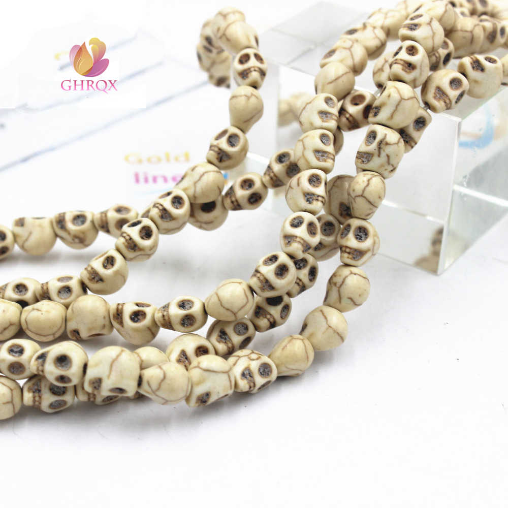 10MM 12 mm White blue  Natural Skull Loose  Beads   Skull Beads Fit Jewelry DIY making