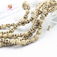 10MM 12 mm White blue Natural Skull Loose Beads Skull Beads Fit Jewelry DIY making(China)
