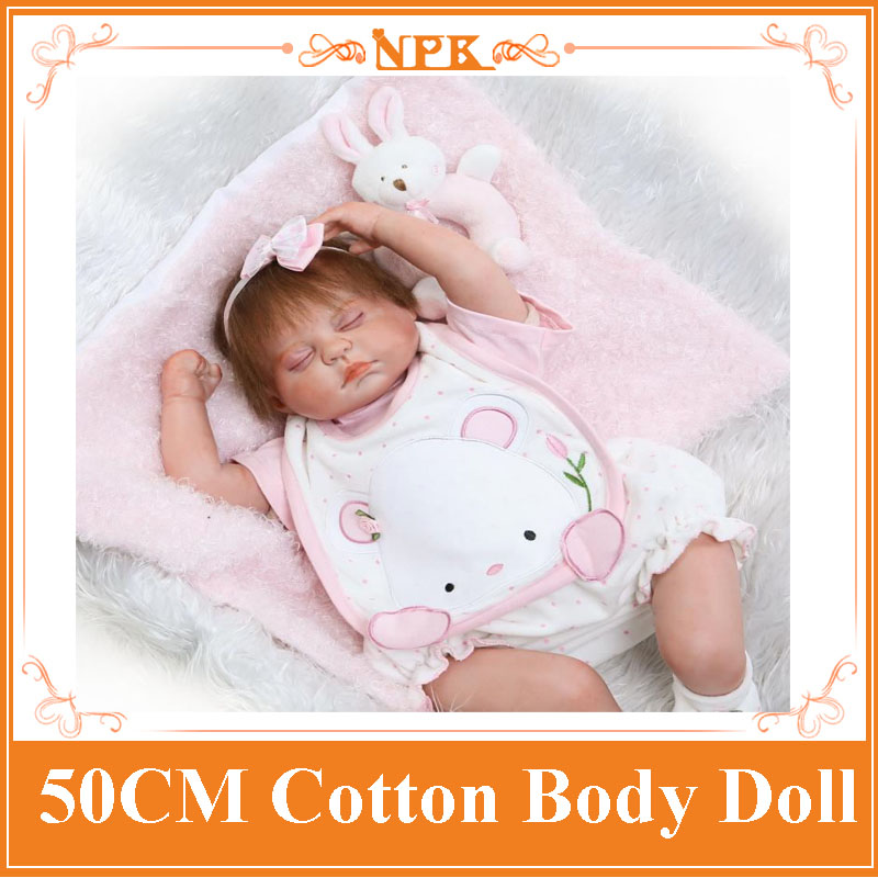 50cm NPK Bebe Reborn Dolls Made By Silicone Limbs+Cotton Body Realistic Sleeping Baby Doll Kids Play Toys Girls Gift Brinquedos 52cm 21inch npk brand kawaii reborn baby dolls made by 100