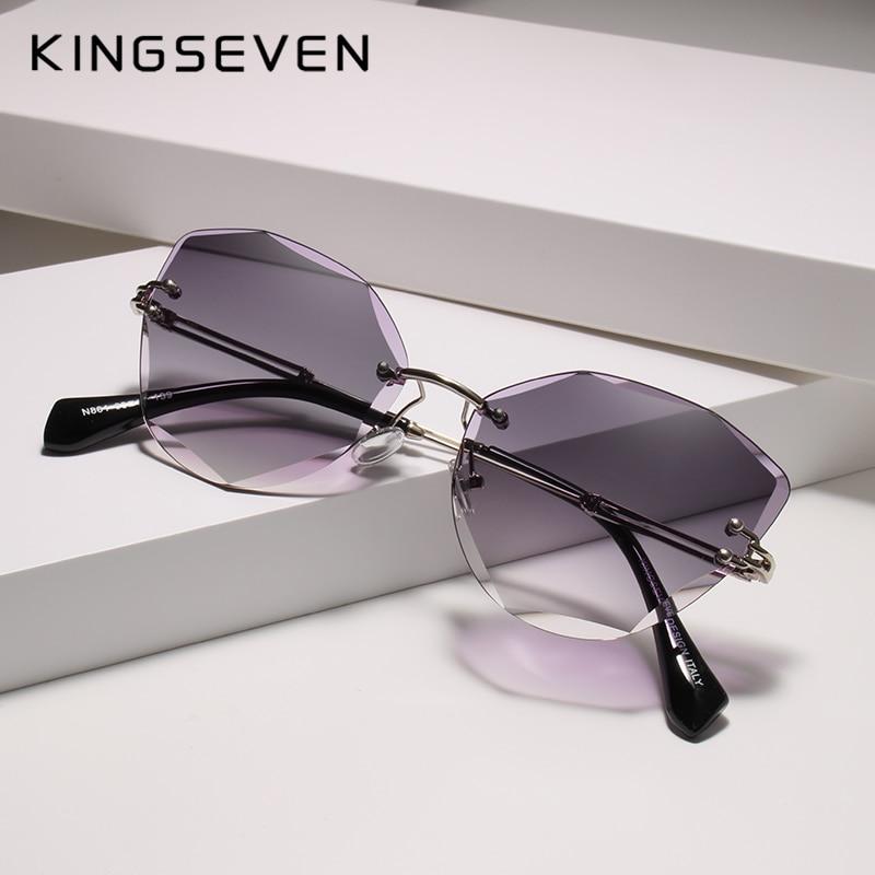 KINGSEVEN Design Rimless Fashion Cat Eye Sunglasses Women Gradient Driving UV400 Sun Glasses Clear Vintage Eyewear Oculos N801