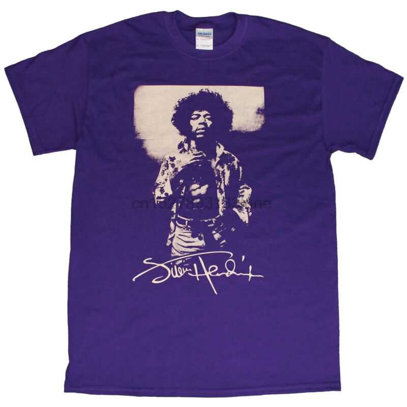 Jimmy Hendrix Ungu T-shirt Cream Cetak Legenda Gitar Purple Haze