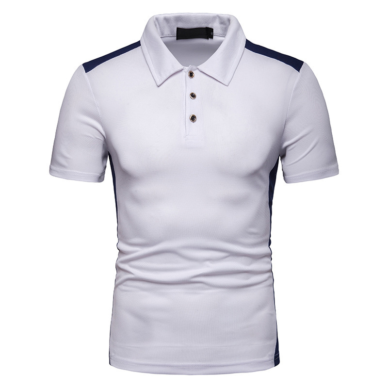 New Fashion Summer Men's Individual Character Match Color Short Sleeve   Polo  , Loose Casual Lapel Striped Short Sleeve   Polo