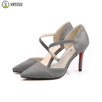 23281f222 SMTZZJ Solid Flock Women Pumps Shallow 8 Cm High Heels Sexy Pointed Toe Slip  On Wedding