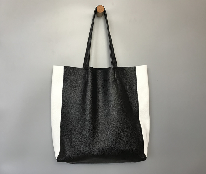 Genuine Leather Women Handbags Black and White Lady Tote Bag Large Capacity Soft Natural Cowhide Shoulder Bag for WomenGenuine Leather Women Handbags Black and White Lady Tote Bag Large Capacity Soft Natural Cowhide Shoulder Bag for Women