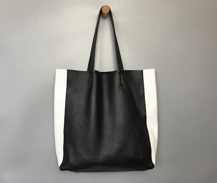 Sac à main femme en cuir véritable noir et blanc sac fourre-tout femme grande capacité sac à bandoulière en peau de vache naturelle souple pour femme