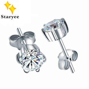 Image 1 - Classic Certified 1 CT Solitaire 18K Solid White Gold Moissanite Stud Earrings For Women Round Brilliant Cut VVS G H
