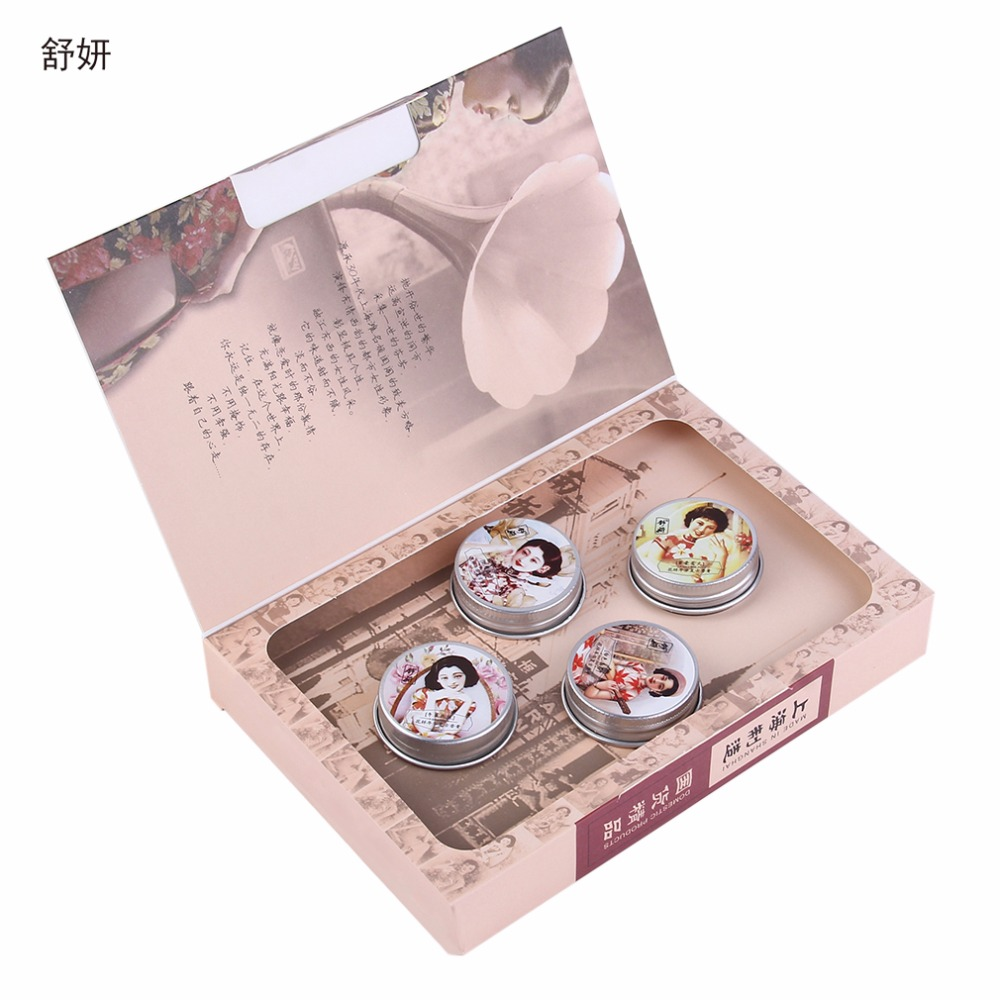 ShuYan SYCZ 127 4pcs Sweet Floral Parfume font b Fragrance b font Balm Solid Perfumes For