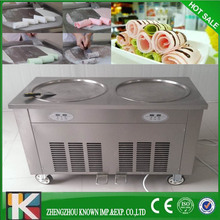 Hot sale Double flat pan fried ice cream machine USA nsf with pedal defrost