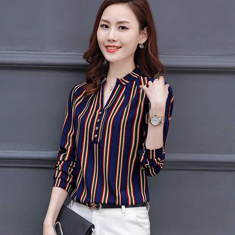 แขนยาวผู้หญิงเสื้อชีฟองฤดูใบไม้ผลิ2018ใหม่สำนักงานเลดี้ลายคอวีเสื้อหญิงแฟชั่นบางท็อปส์