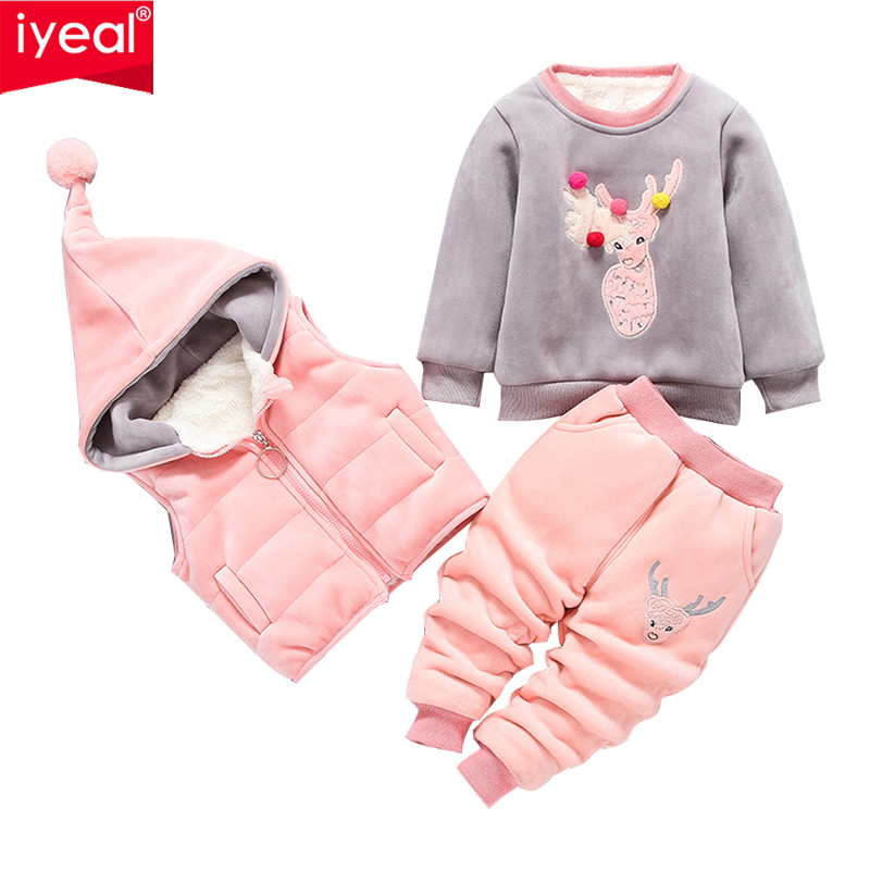 IYEAL Baby Girl Clothes Cartoon Deer Warm Suit for The Boy Aged 1-3 Years Old Infant Winter Velvet Thicken Clothing Set 3 Pieces baby girl boy clothing sets 2018 cartoon pattern autumn winter warm toddler vest shirt pants 1 2 3 4 years kid clothing suit