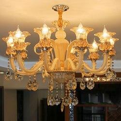 Złoty kolor nowoczesny kryształowy żyrandol w stylu europejskim żyrandol do salonu sztuki dekoracji