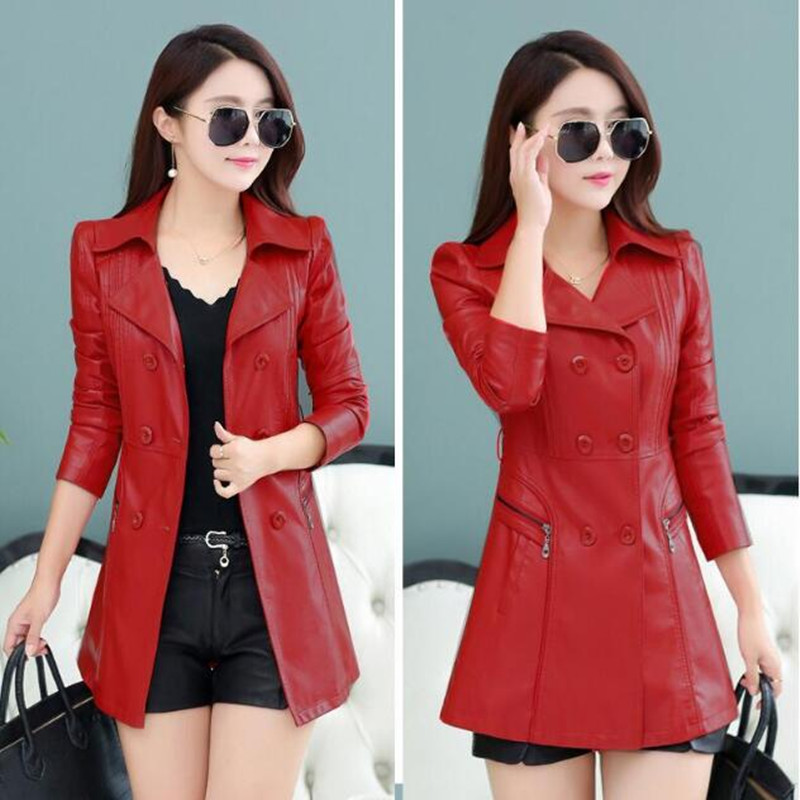 Qualité Mince Style Pu Printemps Femmes Cuir 2019 Casual Haute 4xl Manteau Vêtements Silm En Plus Taille rouge Noir Moyen Mode Manteaux Nouveau La Ja EvwqT