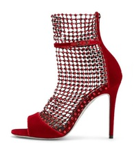 Luxury Red Velvet Women Sandals Bling Crystal Embellished Hollow Mesh Wedding Shoes Bride Gladiator Peep Toe Dress