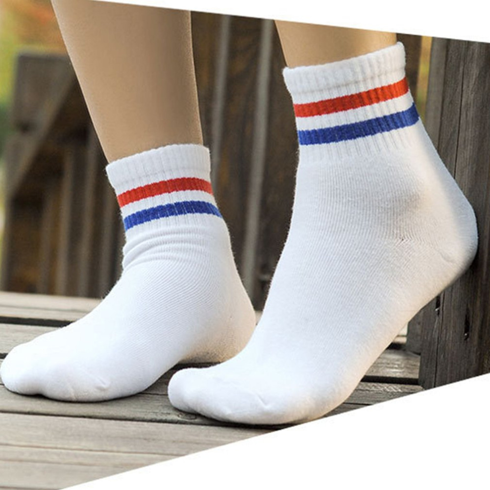 Ankle Warm Woman Fashion White Color Blue Red Stripe Cheap Wholesale Socks Spring Winter 1 Pair Of Unisex Cotton Socks
