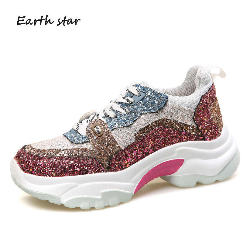 Casual Shoes Women Fashion Brand Glitter Sneakers High Top Lady chaussure Autumn  Female Bling footware Cross 3e916cd4d101