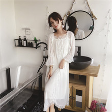 2019 Spring White Vintage Nightgown Women Mesh Ventilate Nylon Sleepwear Lace Flare Sleeve Nightdress Long Sleepshirts