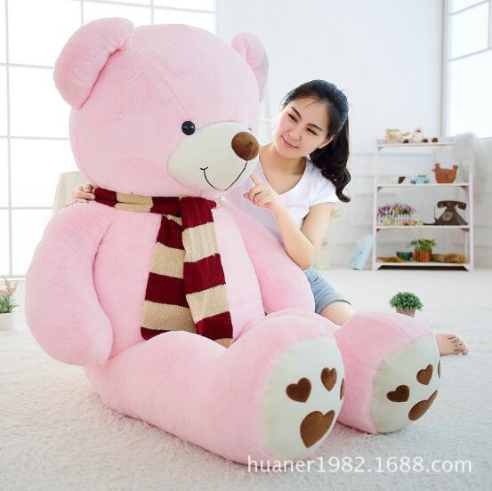 100cm Giant Fat edition teddy bear scarf doll plush toy large hug bear Christmas gift Stuffed Animals Soft Plush Toys 100 cm pink or blue scarf bear plush toy teddy bear doll gift w4098