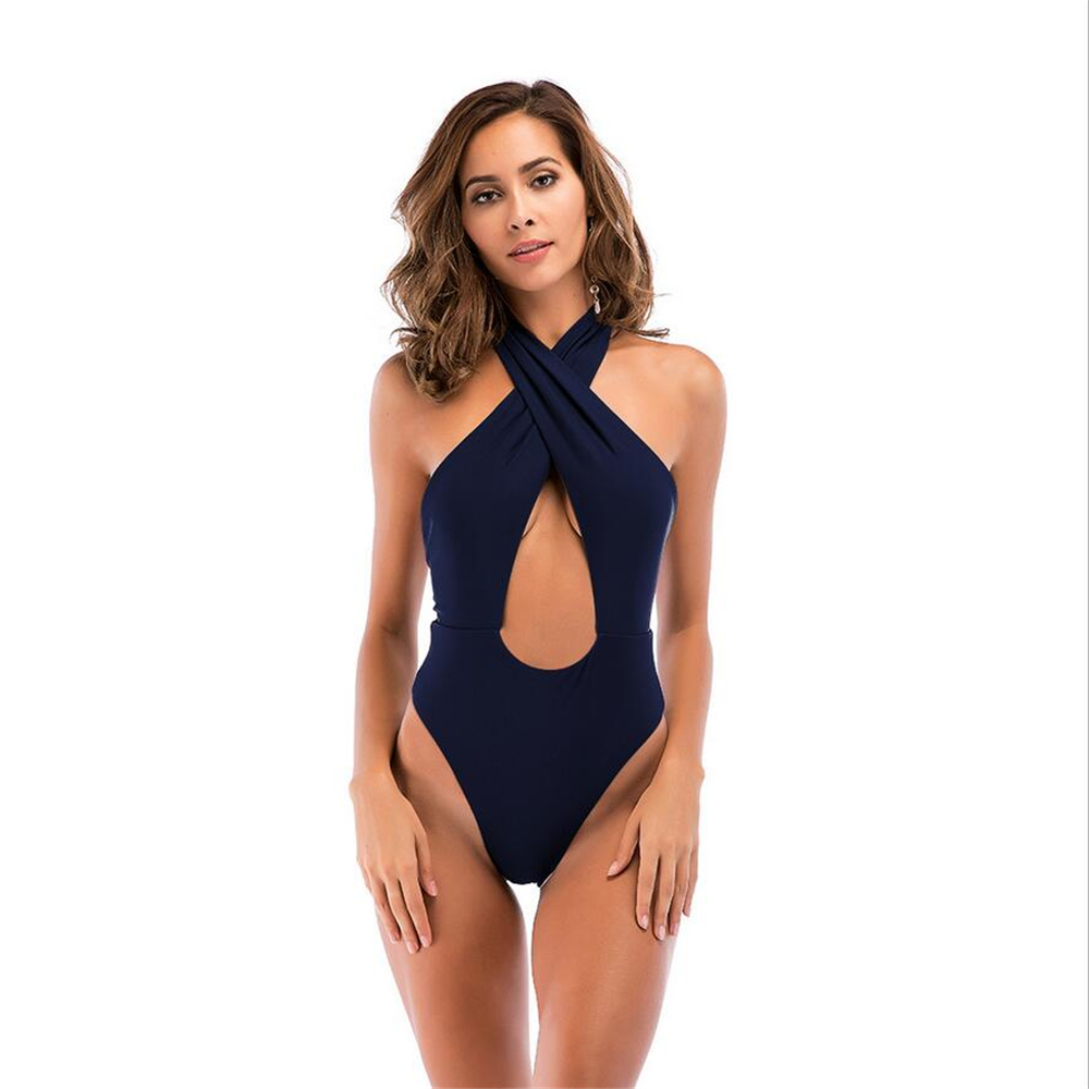 2019 Newest sexy Women one piece swimsuit cross bikini strap halter bandage push up monokini high cut thong swimwear solid in Body Suits from Sports Entertainment