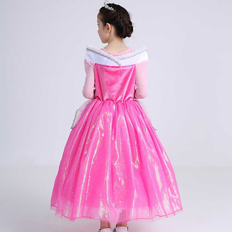 Pamaba rosa menina vestido princesa aurora cosplay traje crianças festa de halloween sono beleza disfarce lantejoulas crianças vestido de casamento