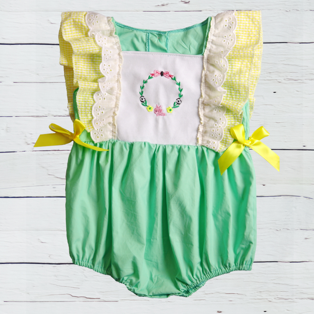 Girls' Baby Clothing Shop For Cheap Puresun Baby Girl Bubble Summer Style Yellow And Green Floral Embroidery Outfit Newborn Zipper High Quality Boutique Clothes Bodysuits