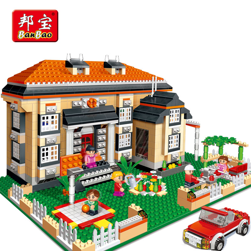 BanBao 3 in 1 Building Blocks City Rhine Villa House Educational Bricks Toys Model 8369 For Kids Children Compatible With Legoe loz mini diamond block world famous architecture financial center swfc shangha china city nanoblock model brick educational toys