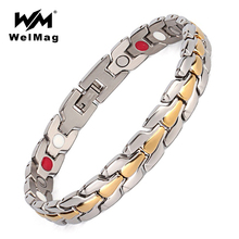 hot deal buy welmag stainless steel bracelets 3 in 1 negative ion magnetic fir bracelets & bangles healing magnetic jewelry wristband for men