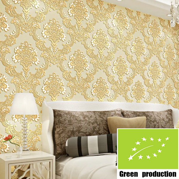 Buy european 3d flock printing wall decor for Bedroom wallpaper sale