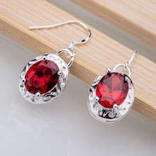 Silver Plated earrings , Silver Plated fashion jewelry , stone red rounded /ceaakvha dviammpa LQ-E025(China)
