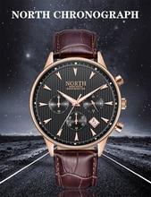Relogio Masculino Luxury Brand NORTH Men Watches Auto Date Chronograph Quartz Watch Gold Casual Sport Military Wrist